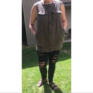 Free People Army Green Vest
